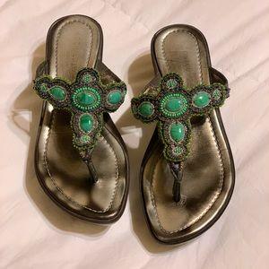 Donald Pliner Turquoise Beaded Sandals Sz 8